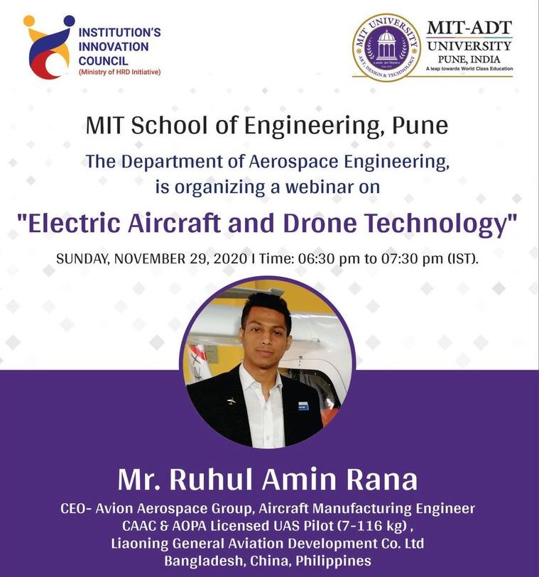 Avion Aerospace Conducted Webinar About Electric Aircraft & Drone Technology -at MIT ADT University, Pune, India